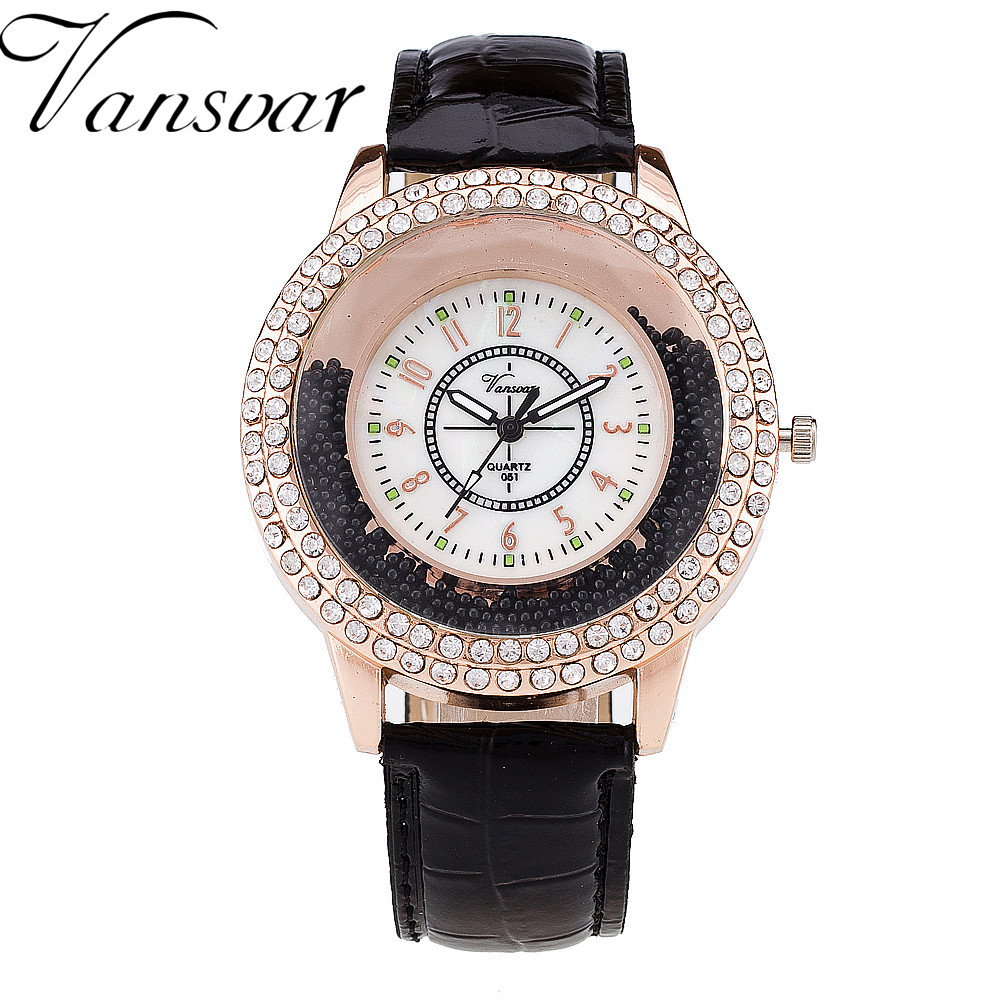 VANSVAR Fashion Women Rhinestone Watch Leather Strap Quartz Watch Reloj Mujer Hot Women Dress Watch Relogio Feminino 189