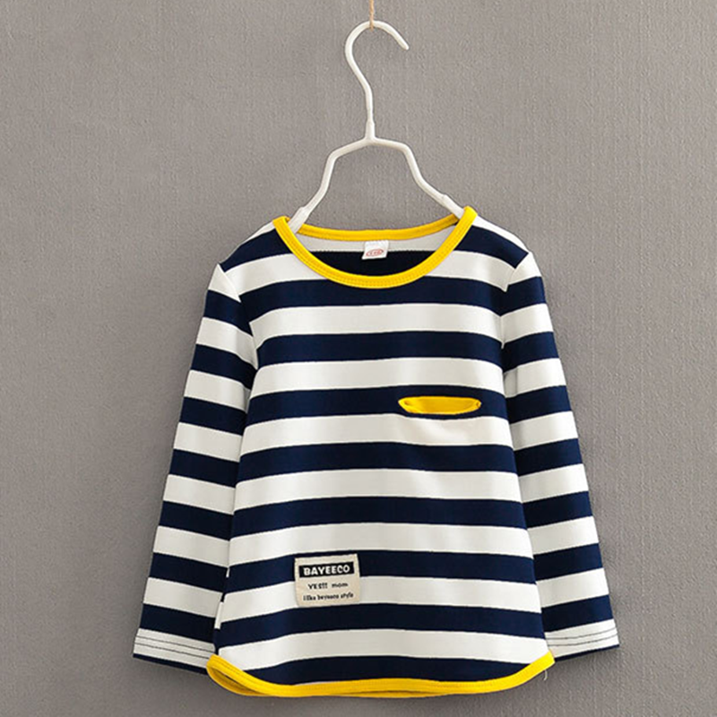 V-TREE Spring autumn long sleeve t-shirt for girls stripe boys shirts children tops children's sweatshirts baby clothing tees