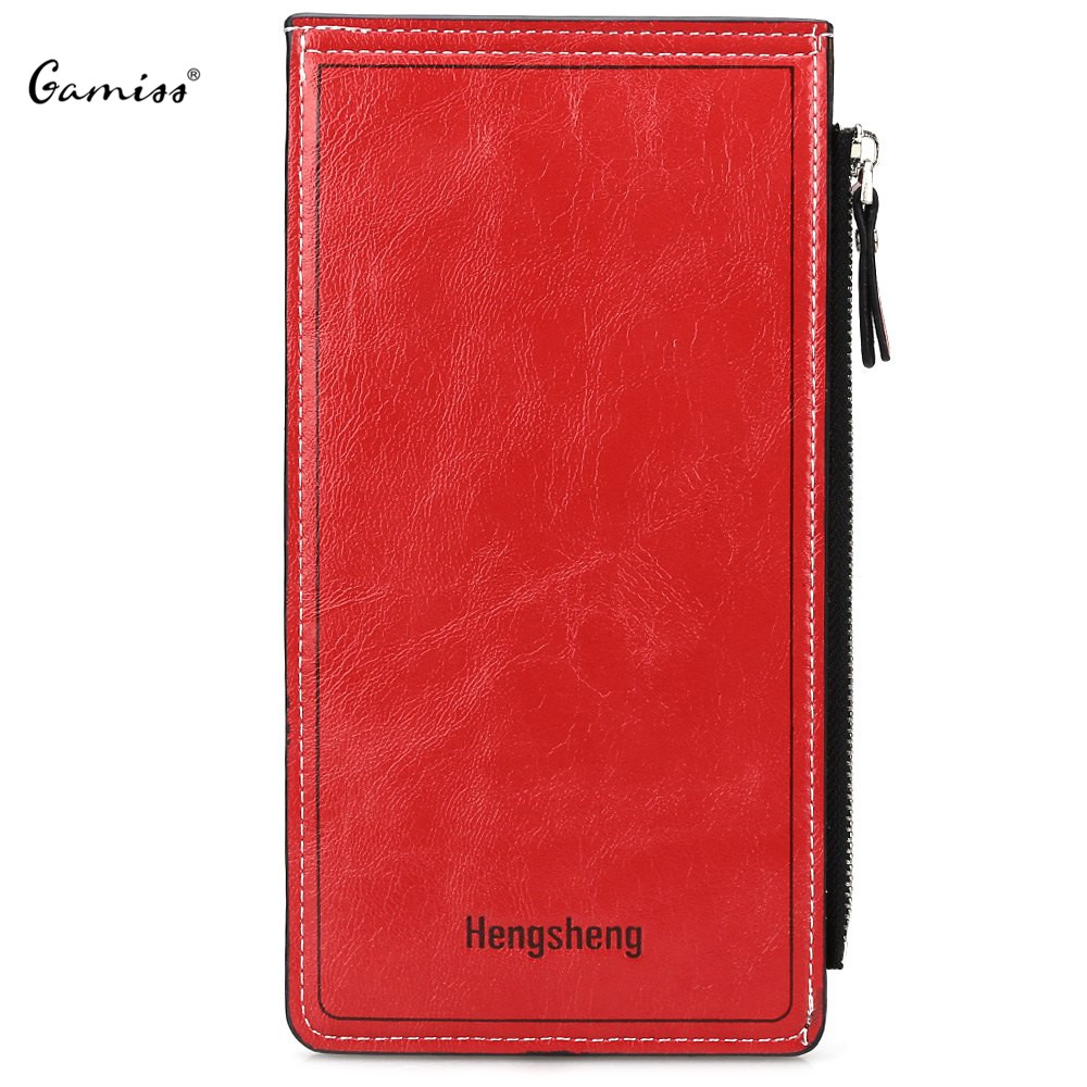 Famous Brand Long Women's Wallets Unisex Leather Purses Solid Color Zipper Hasp Credit ID Card Clutch Wallet for Men Women